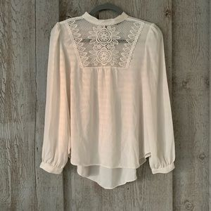 Express Peasant Blouse with Lace Detail